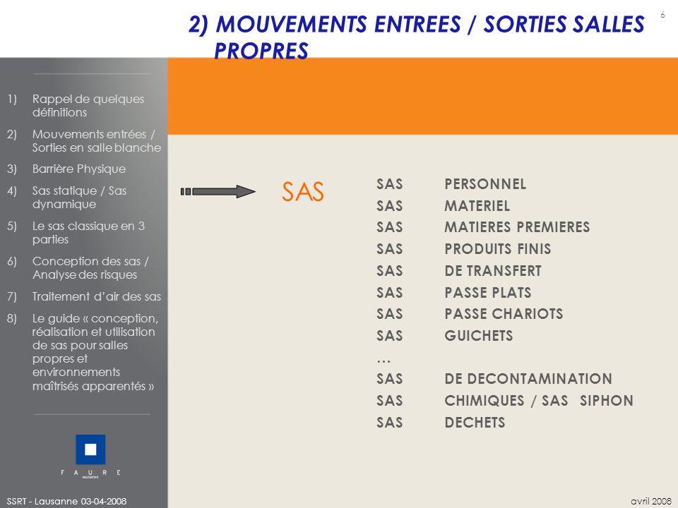 SAS 2) MOUVEMENTS ENTREES / SORTIES SALLES PROPRES SAS PERSONNEL