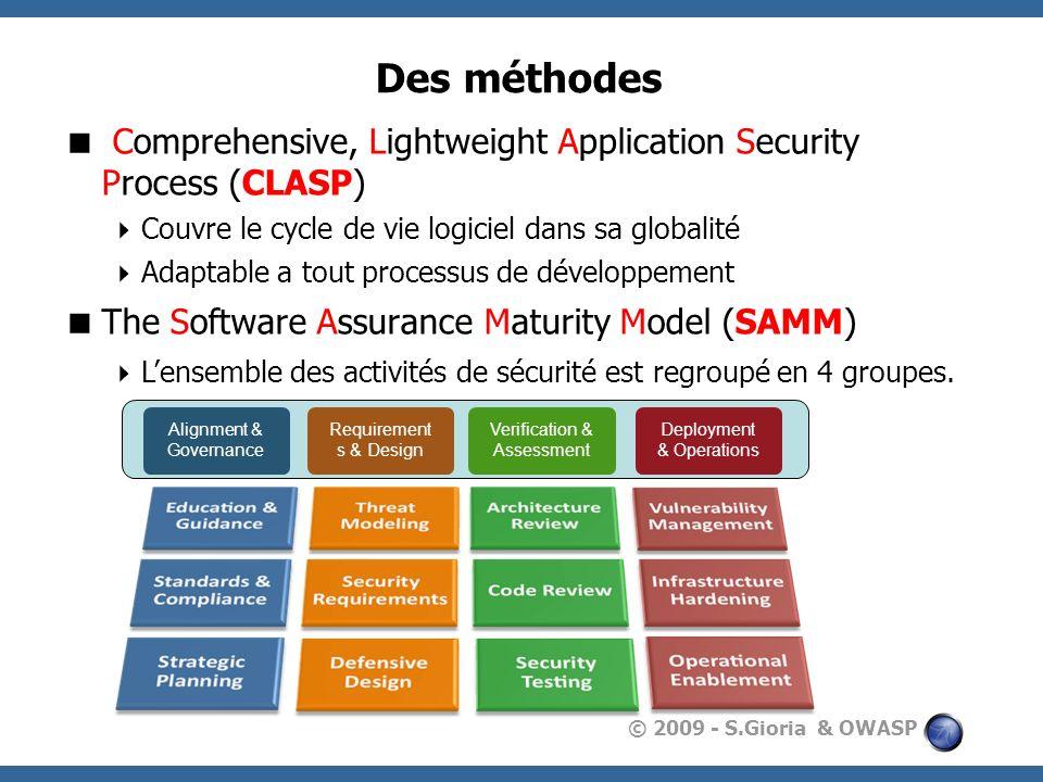 Des méthodesComprehensive, Lightweight Application Security Process (CLASP) Couvre le cycle de vie logiciel dans sa globalité.
