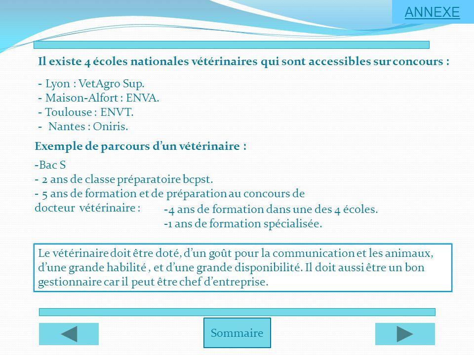 ANNEXE Il existe 4 écoles nationales vétérinaires qui sont accessibles sur concours : - Lyon : VetAgro Sup.