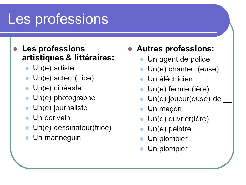 Les professions Les professions artistiques & littéraires: