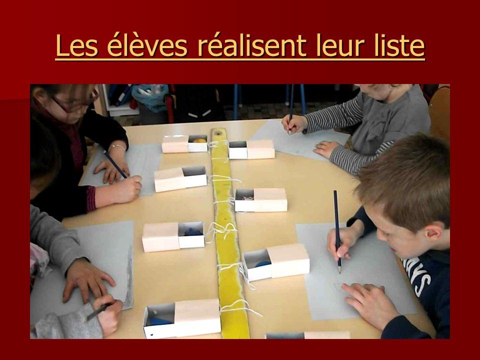 Les élèves réalisent leur liste