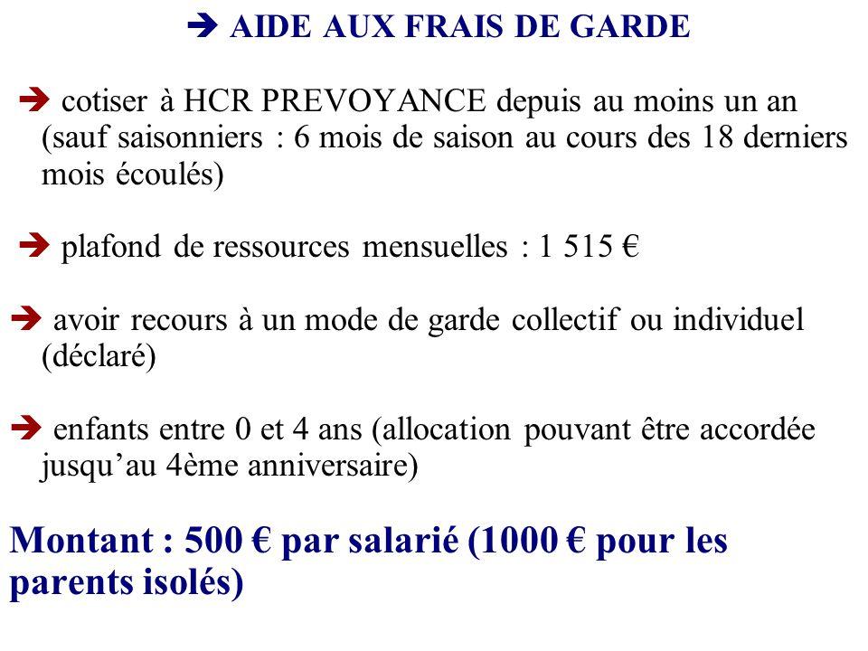  AIDE AUX FRAIS DE GARDE