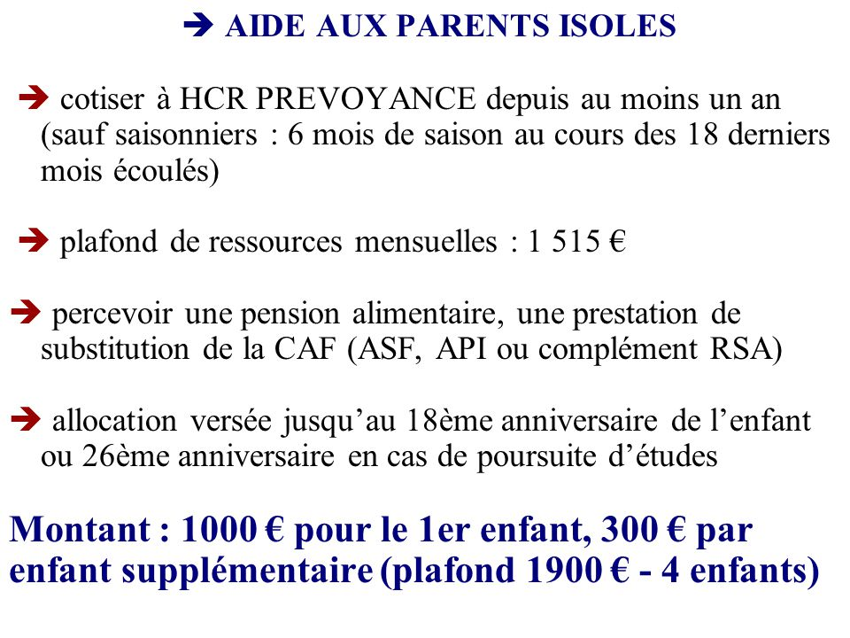  AIDE AUX PARENTS ISOLES