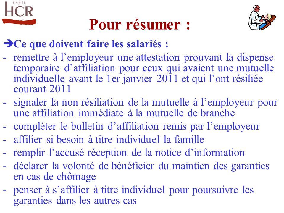 Pour résumer : Ce que doivent faire les salariés :