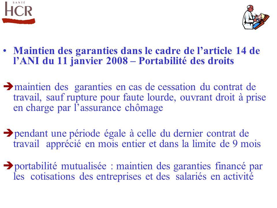 Maintien des garanties dans le cadre de l'article 14 de l'ANI du 11 janvier 2008 – Portabilité des droits