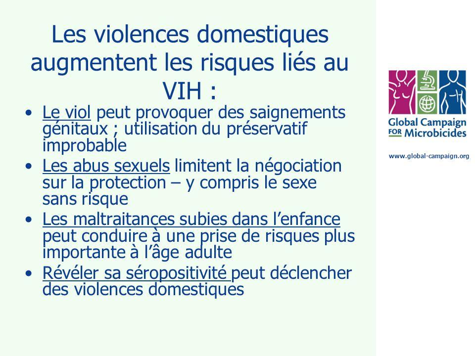 Les violences domestiques augmentent les risques liés au VIH :