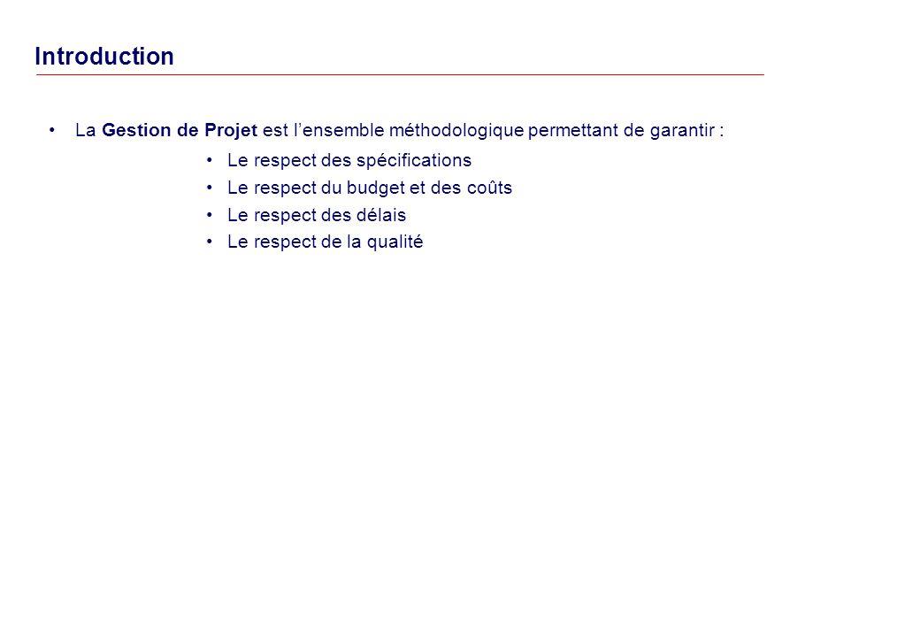 Introduction La Gestion de Projet est l'ensemble méthodologique permettant de garantir : Le respect des spécifications.