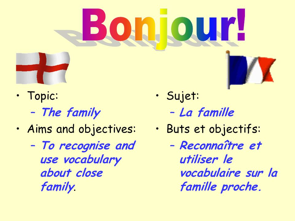 Bonjour! Topic: The family Aims and objectives: