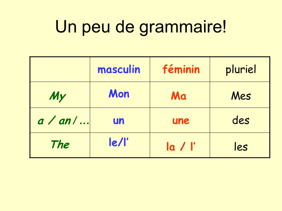 Un peu de grammaire! masculin féminin pluriel Mon My Ma Mes a / an / …