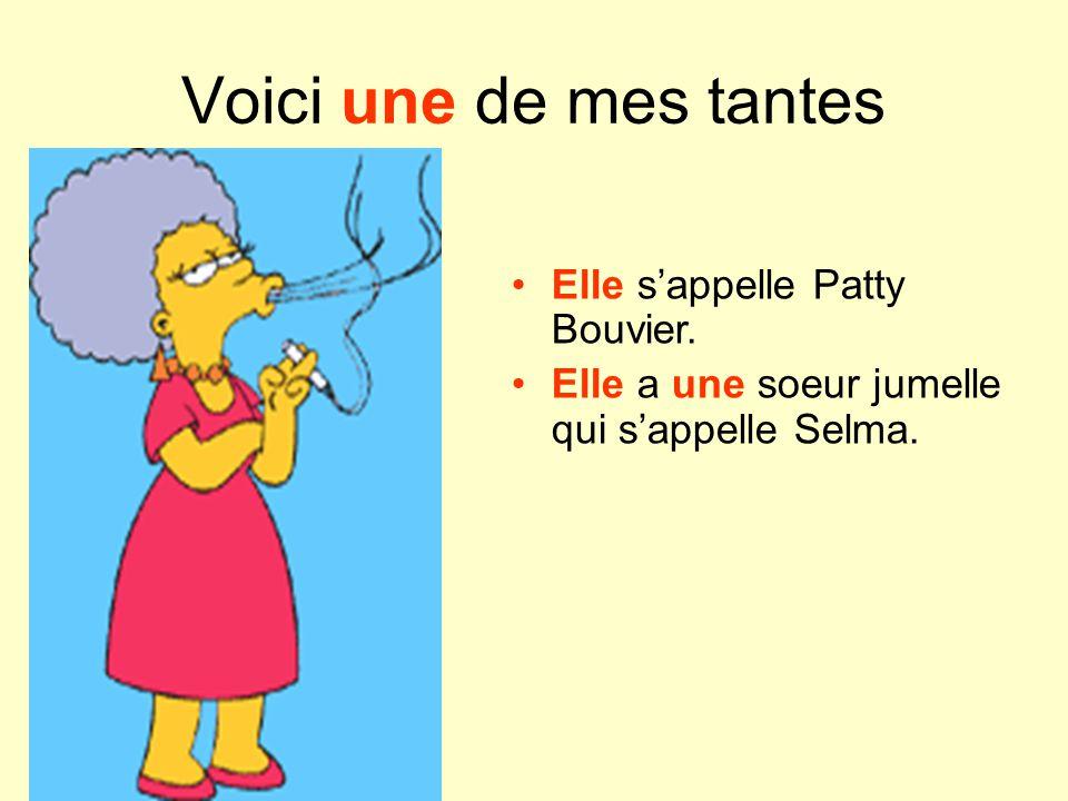 Voici une de mes tantes Elle s'appelle Patty Bouvier.