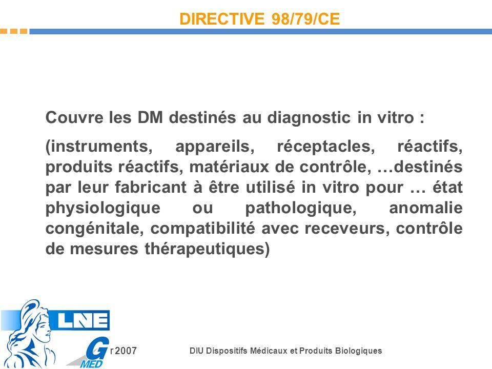 Couvre les DM destinés au diagnostic in vitro :