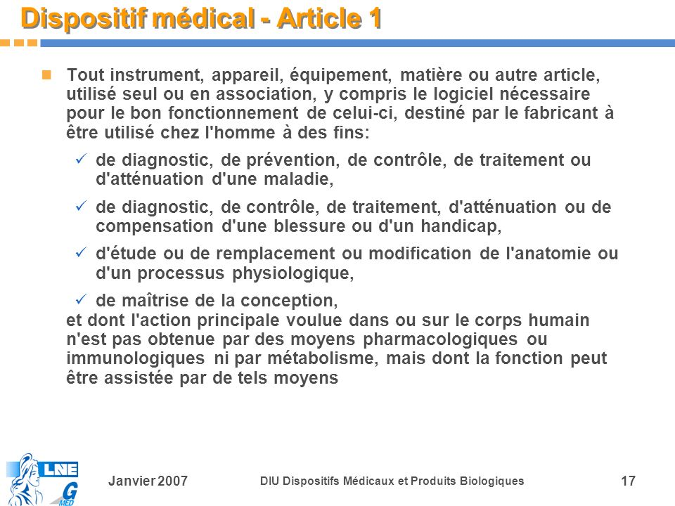 Dispositif médical - Article 1