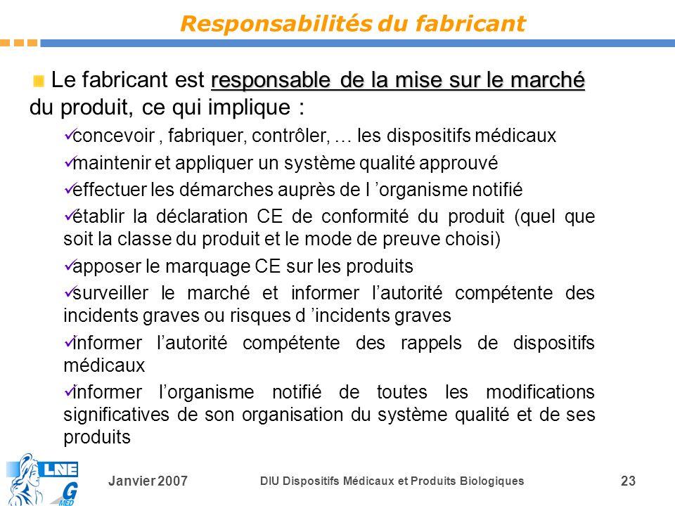 Responsabilités du fabricant
