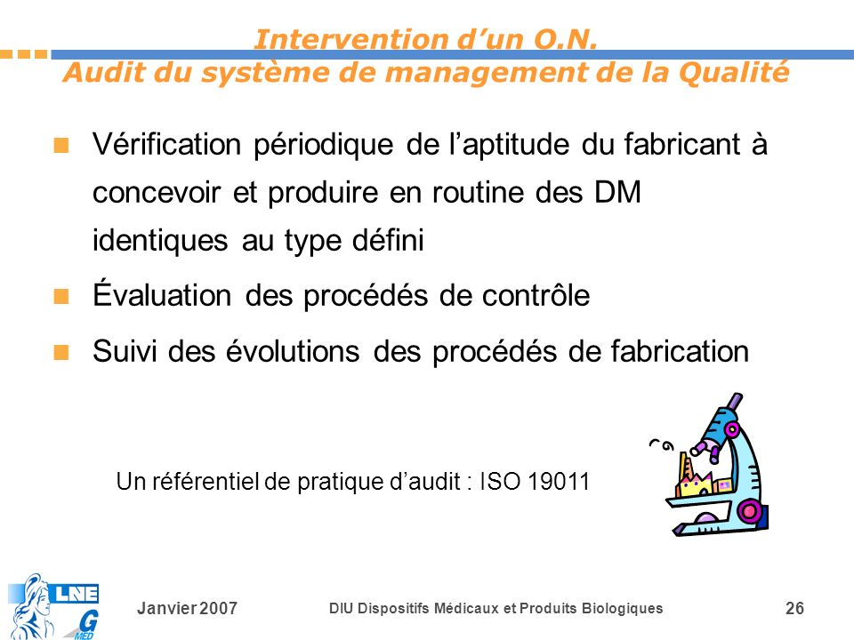 Intervention d'un O.N. Audit du système de management de la Qualité