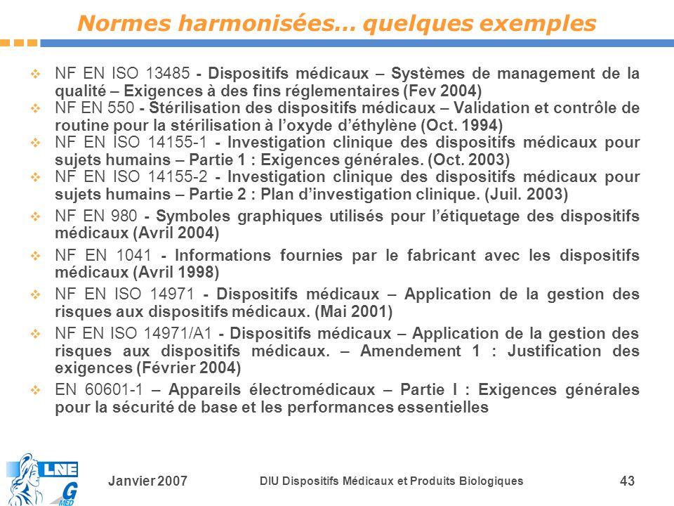 Normes harmonisées… quelques exemples