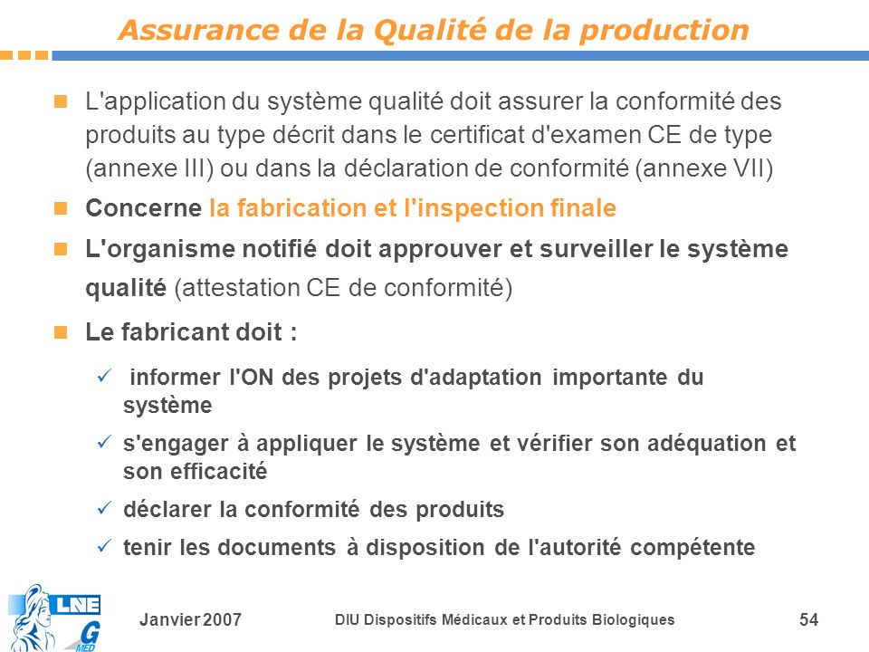 Assurance de la Qualité de la production