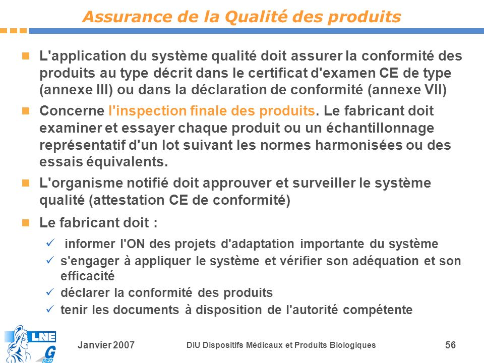 Assurance de la Qualité des produits
