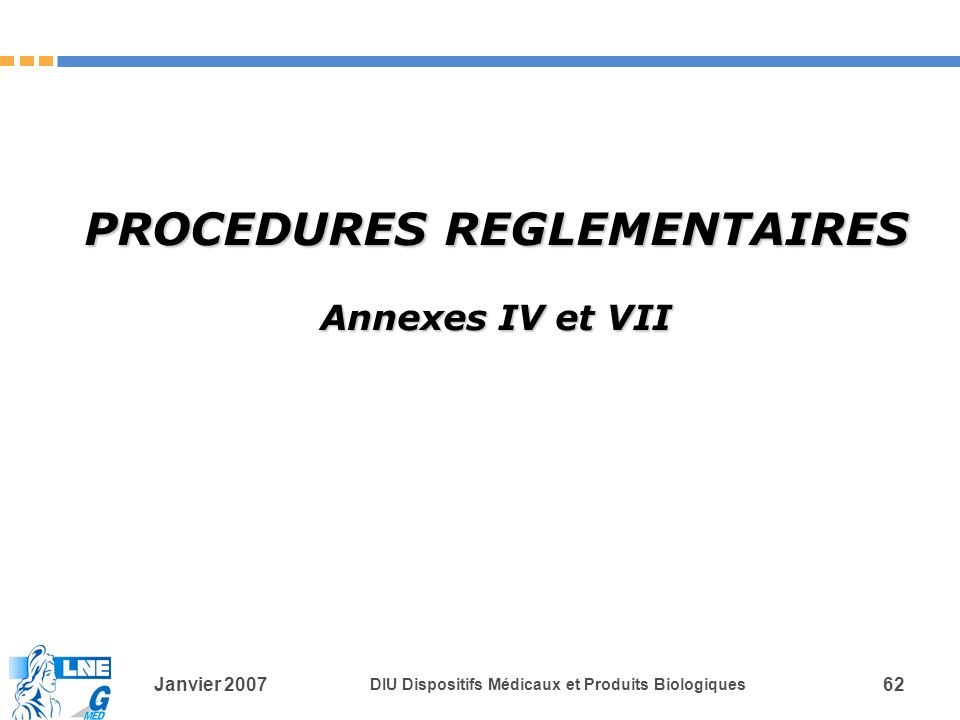 PROCEDURES REGLEMENTAIRES