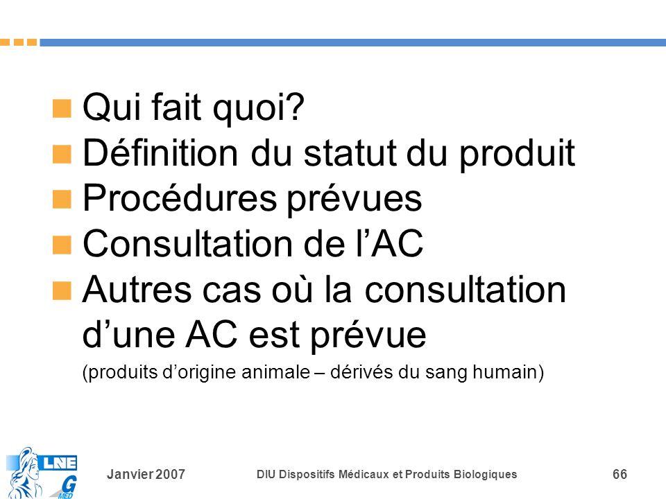 Définition du statut du produit Procédures prévues