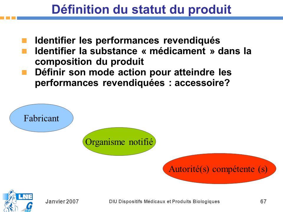 Définition du statut du produit
