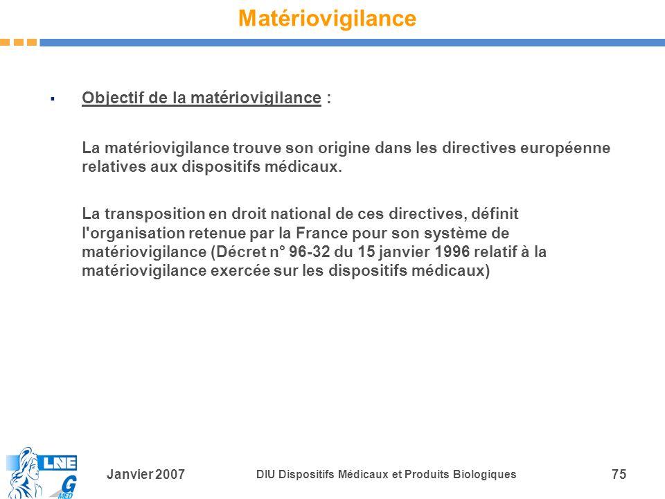 Matériovigilance Objectif de la matériovigilance :
