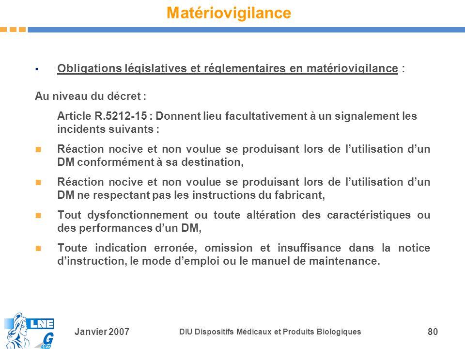 Matériovigilance Obligations législatives et réglementaires en matériovigilance : Au niveau du décret :