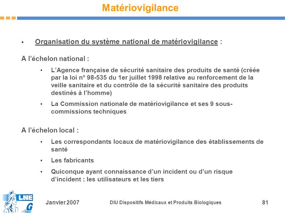 Matériovigilance Organisation du système national de matériovigilance : A l'échelon national :