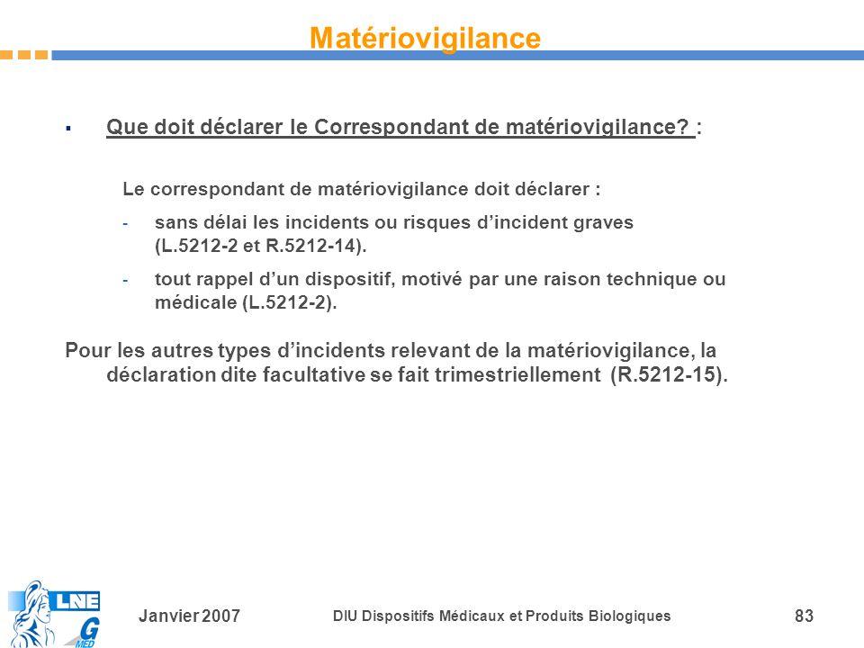 Matériovigilance Que doit déclarer le Correspondant de matériovigilance : Le correspondant de matériovigilance doit déclarer :