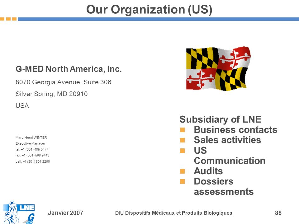 Our Organization (US) Subsidiary of LNE Business contacts