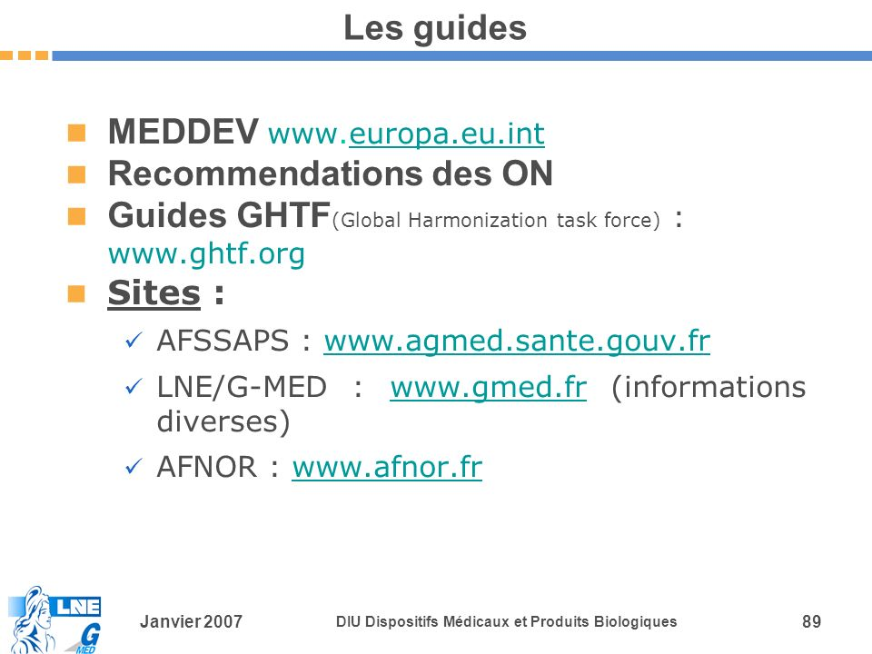 MEDDEV www.europa.eu.int Recommendations des ON