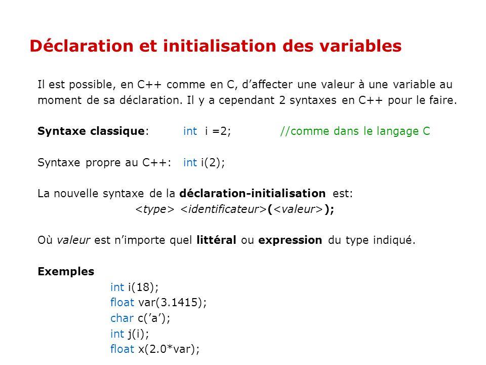 Déclaration et initialisation des variables