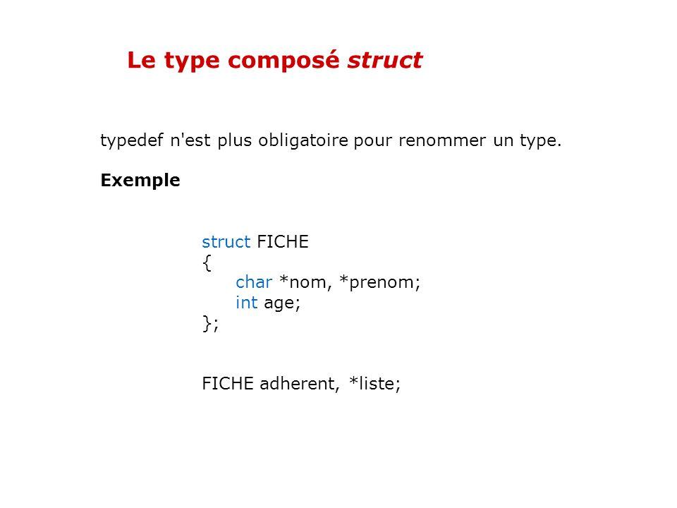 02/04/2017 Le type composé struct. typedef n est plus obligatoire pour renommer un type. Exemple.