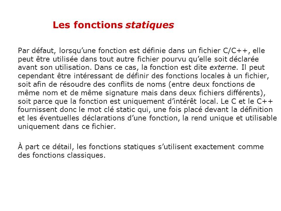 Les fonctions statiques
