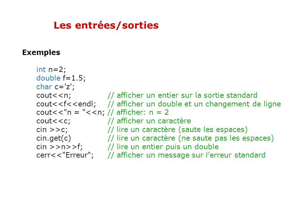 Les entrées/sorties Exemples int n=2; double f=1.5; char c= z ;