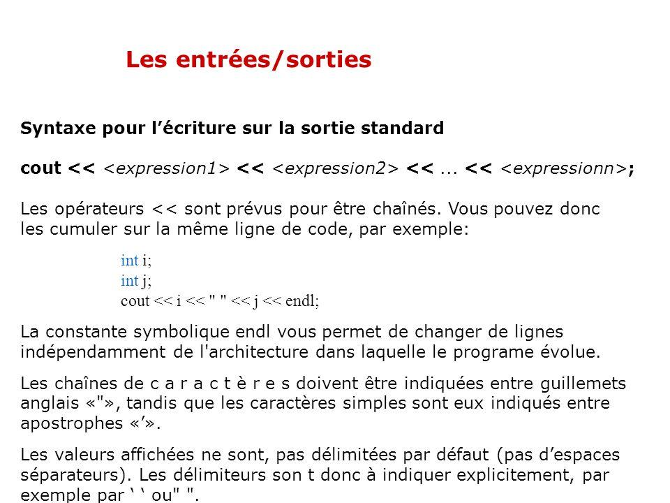 Les entrées/sorties Syntaxe pour l'écriture sur la sortie standard