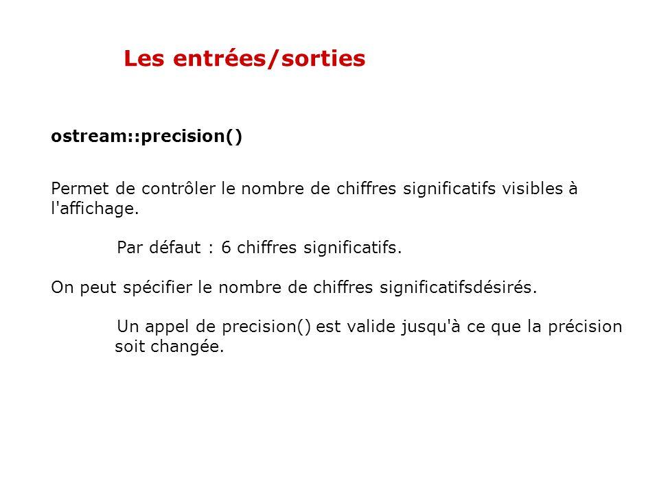 Les entrées/sorties ostream::precision()