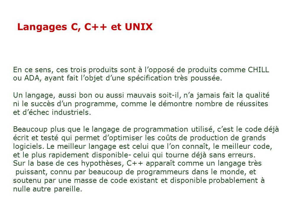 02/04/2017 Langages C, C++ et UNIX. En ce sens, ces trois produits sont à l'opposé de produits comme CHILL.