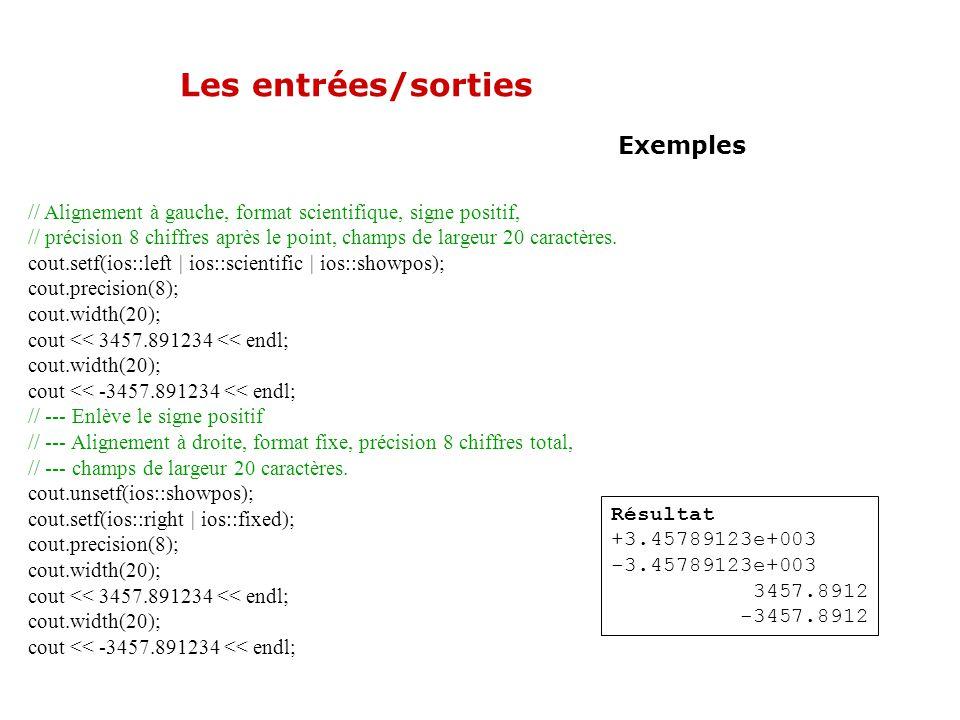 Les entrées/sorties Exemples