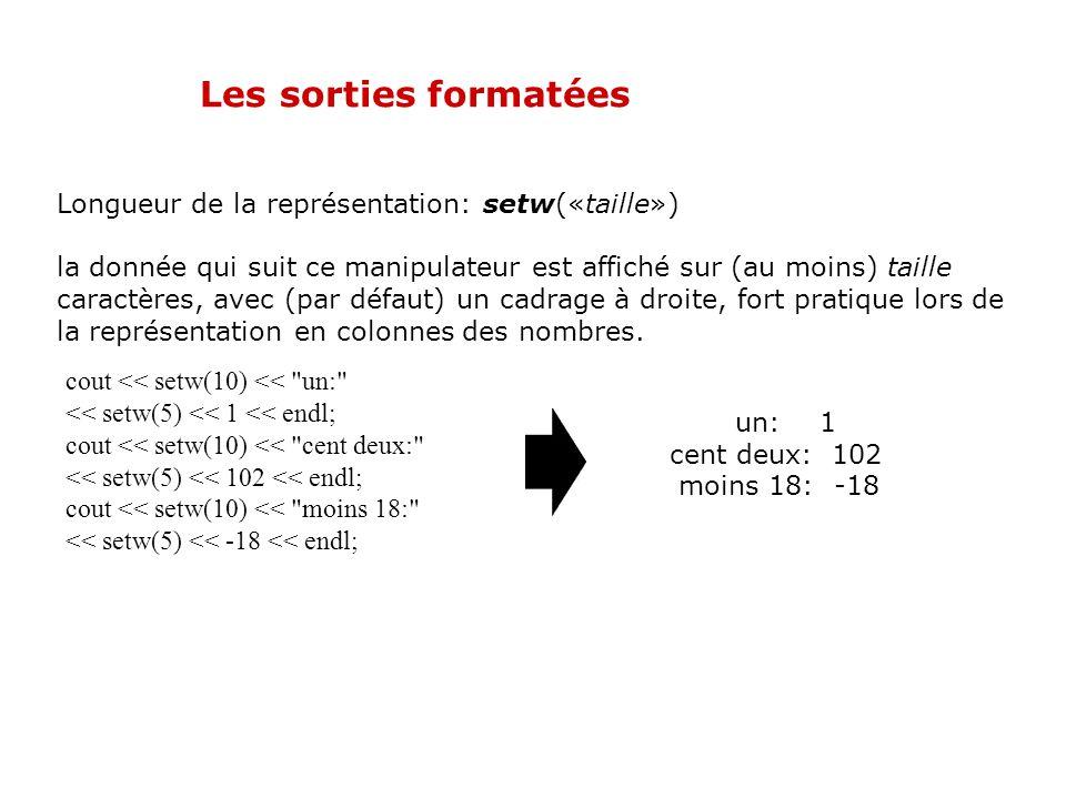 Les sorties formatées Longueur de la représentation: setw(«taille»)