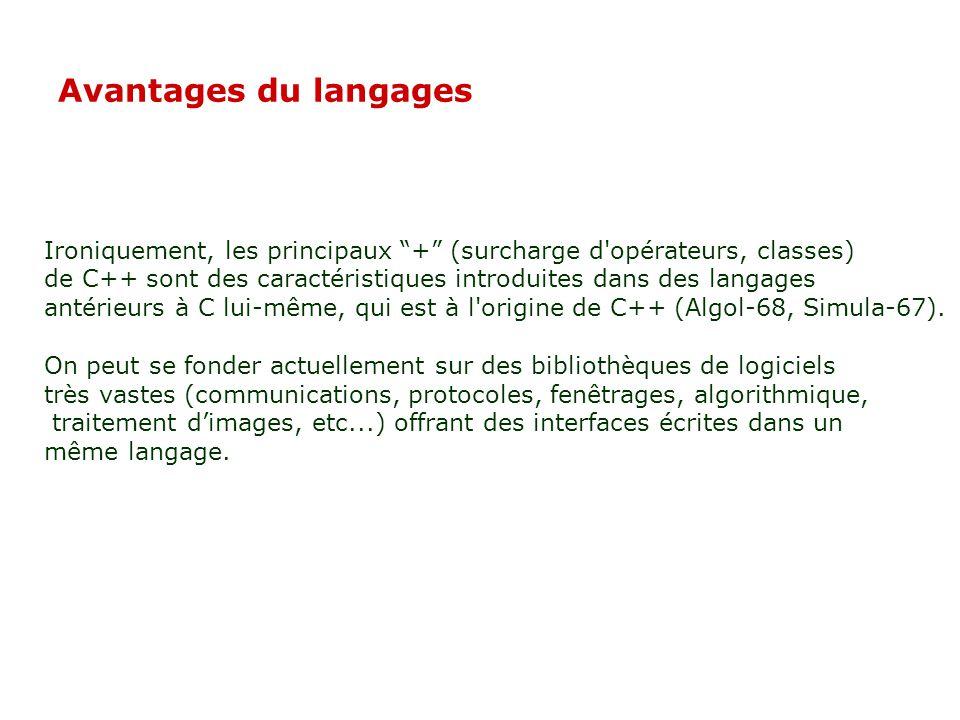 02/04/2017 Avantages du langages. Ironiquement, les principaux + (surcharge d opérateurs, classes)