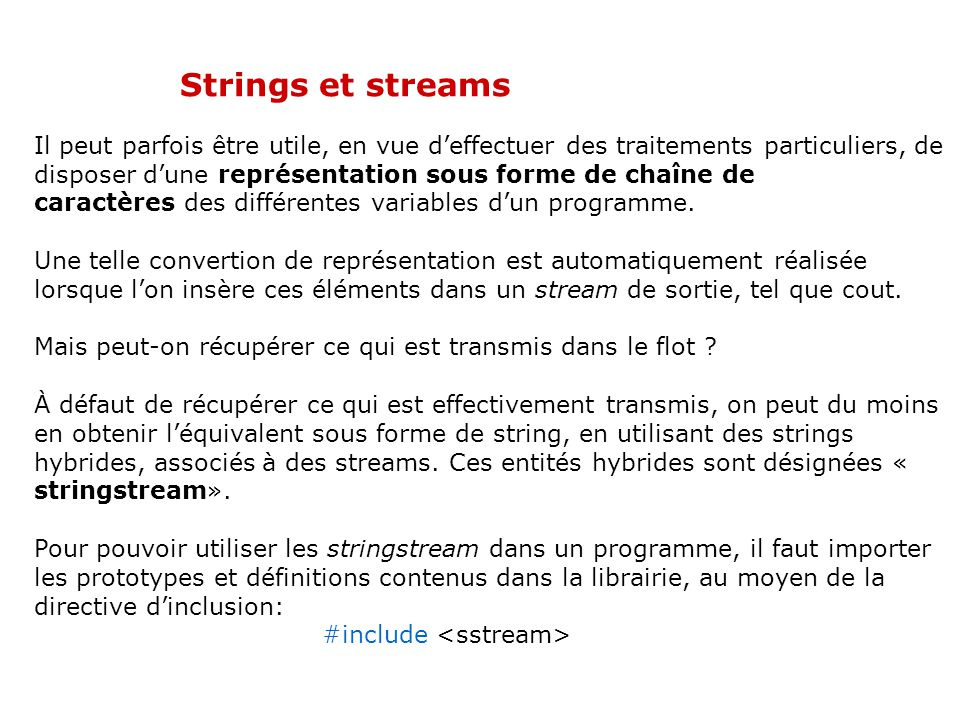 02/04/2017 Strings et streams.