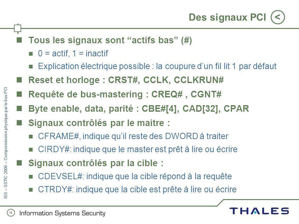 Des signaux PCI Tous les signaux sont actifs bas (#)