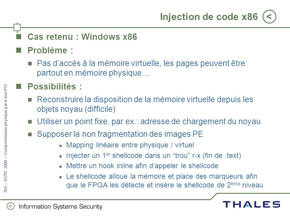Injection de code x86 Cas retenu : Windows x86 Problème :