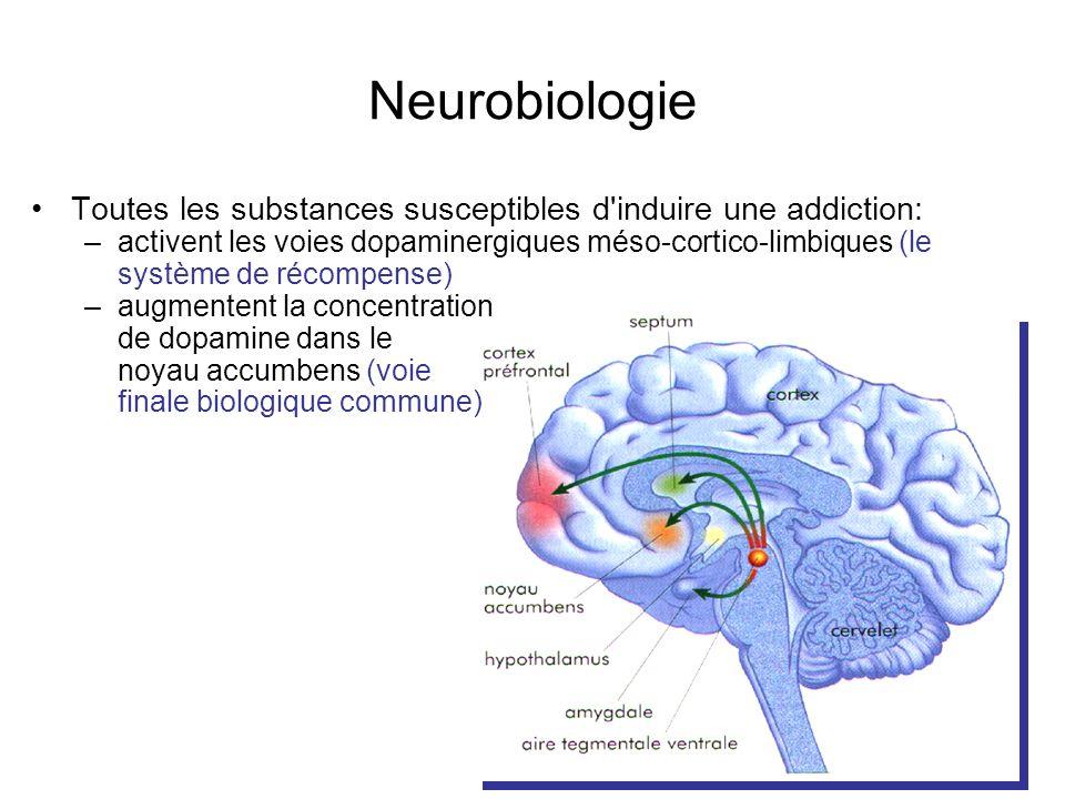 Neurobiologie Toutes les substances susceptibles d induire une addiction: