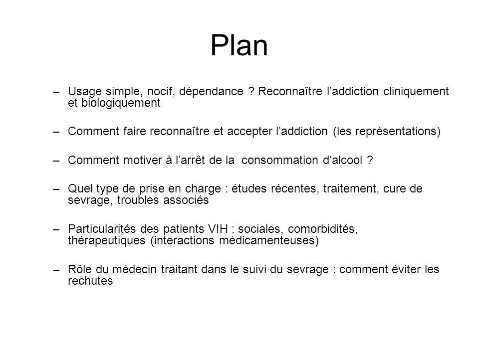 Plan Usage simple, nocif, dépendance Reconnaître l'addiction cliniquement et biologiquement.
