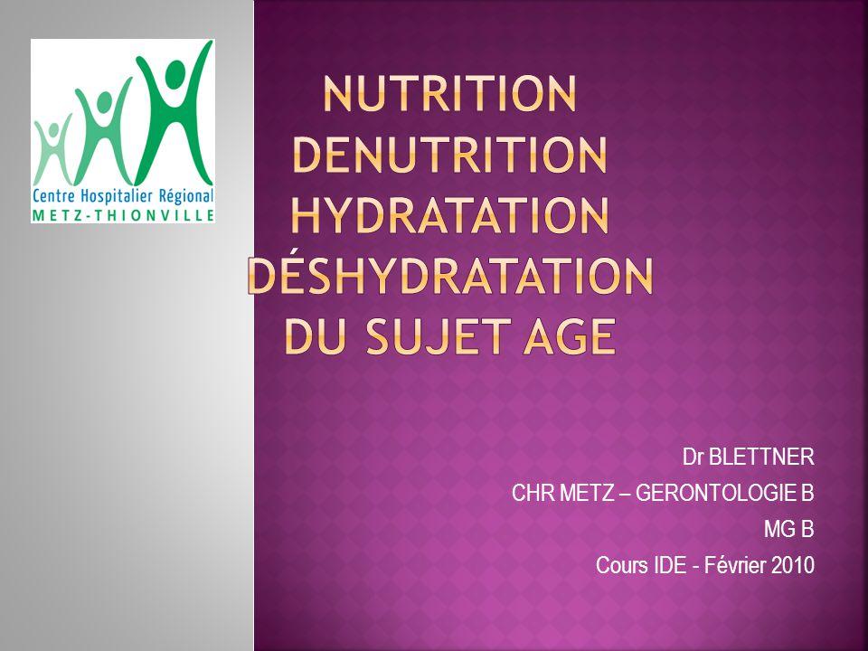 NUTRITION DENUTRITION hydratation déshydratation DU SUJET AGE