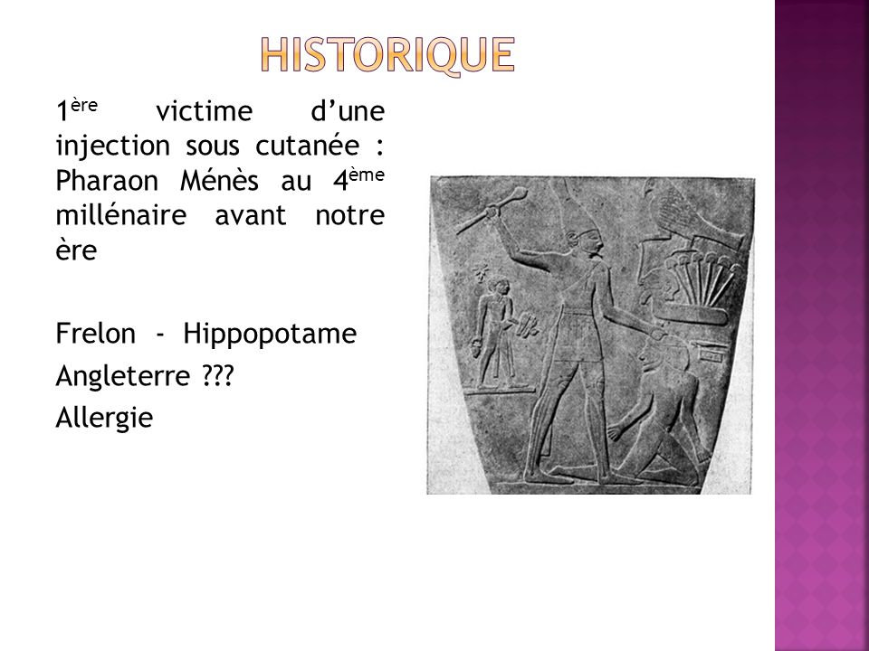 historique 1ère victime d'une injection sous cutanée : Pharaon Ménès au 4ème millénaire avant notre ère.