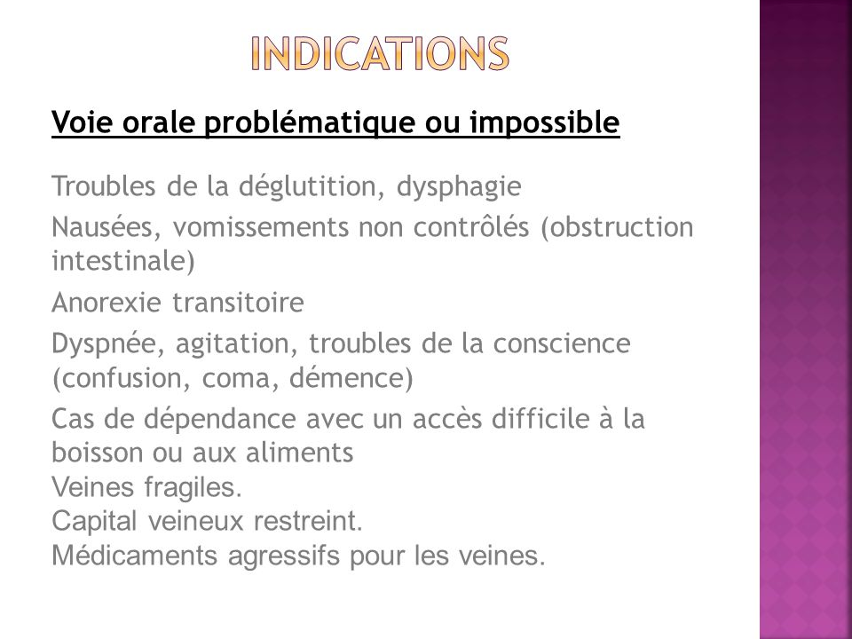 indications Voie orale problématique ou impossible