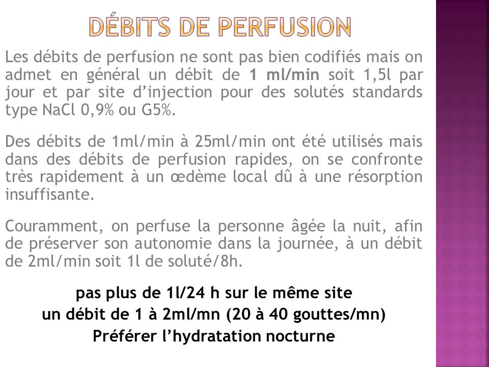 Débits de perfusion