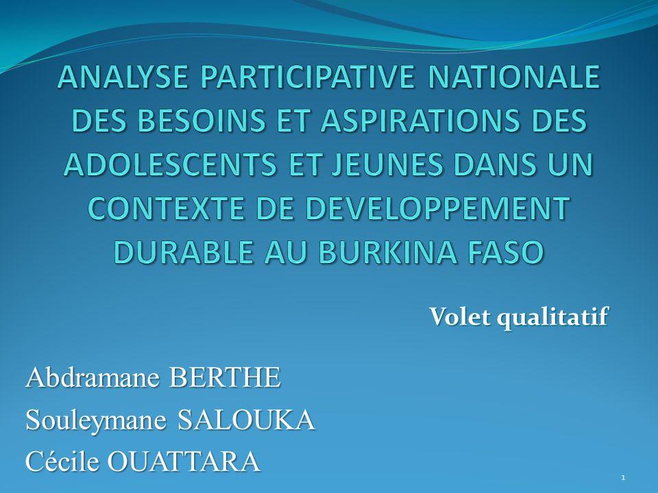 ANALYSE PARTICIPATIVE NATIONALE DES BESOINS ET ASPIRATIONS DES ADOLESCENTS ET JEUNES DANS UN CONTEXTE DE DEVELOPPEMENT DURABLE AU BURKINA FASO